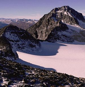Paradies Glacier - View of the Rheinwaldhorn from the glacier