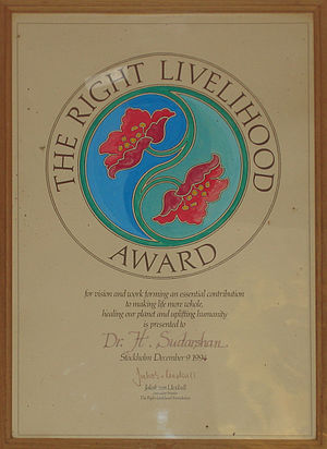 Right Livelihood Award - The 1994 award given to Dr. Sudarshan photographed in BR Hills