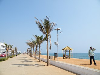Puducherry - The Promenade in the main town Puducherry is one of the most popular tourist attractions of the Union Territory