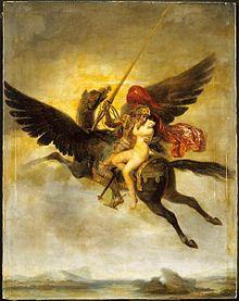Un bărbat care conduce o femeie pe discul unui montaj cu aripi maro, văzut din spate.