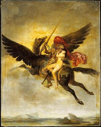 Hippogriff - Roger délivrant Angélique (1824) by Louis-Édouard Rioult depicts the scene of Orlando Furioso where Ruggiero rescues Angelique while riding on a hippogriff.