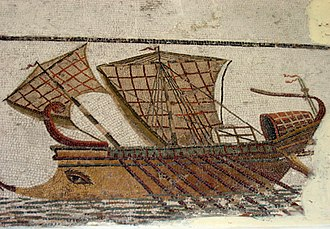 Ancient Carthage - Roman trireme on a mosaic in the Bardo Museum, Tunisia