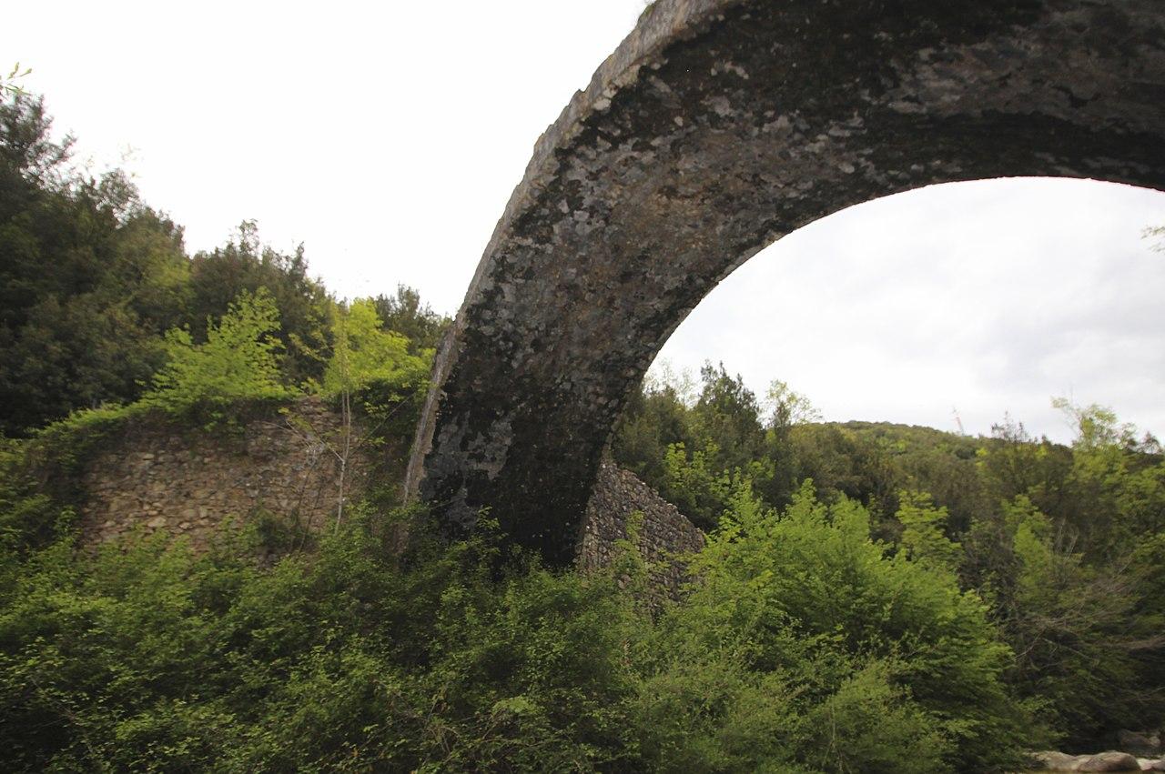 Bridge Ponte della Pia seen from the West, near Rosia, hamlet of Sovicille, Province of Siena, Tuscany