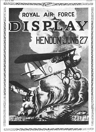 Hendon Aerodrome - Poster for RAF Display, Hendon, 1925, published in Flight Magazine, 2 July 1925