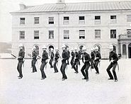 Royal Military College of Canada cadets drill in parade square, Stone Frigate 1880s