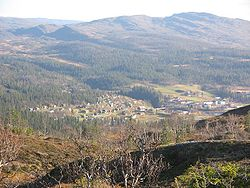 View of the village of Røyrvik