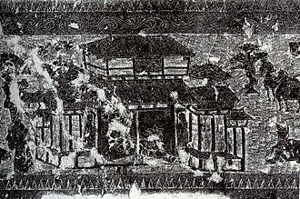 Yinan County - A rubbing of a Chinese Han Dynasty (202 BC – 220 AD) pictorial stone (i.e. the Yinan stone carving of Shandong province, China) showing an ancestral worship hall (citang 祠堂) with closed doors, a person outside making a sacrificial offering to his ancestors, and horses and trees in the background.