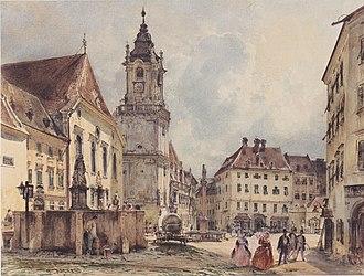 Hlavné námestie (Bratislava) - Image: Rudolf von Alt Der Hauptplatz in Pressburg 1843