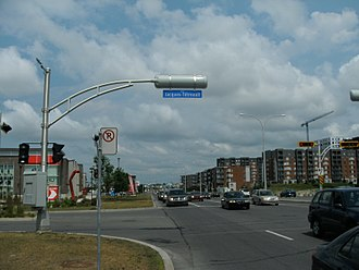 Jacques Tétreault - Street sign identifying rue Jacques-Tétreault in Laval.