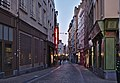 Rue de la Violette as seen from Place Saint-Jean during the evening civil twilight in Brussels, Belgium (DSCF4300).jpg