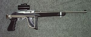 Assault weapon - This Ruger 10/22 rifle with a pistol grip and a folding stock was classified as an assault weapon under the Federal Assault Weapons Ban.