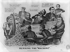 A group of men sitting at a table as another man creates money on a wooden machine.