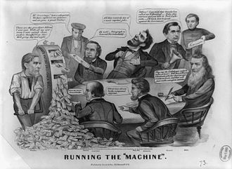 "United States Note - A political cartoon from the 1864 election depicting Secretary Fessenden of the Lincoln administration operating ""Chase's Mill"" at left to flood the country with Greenbacks."