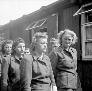 Herta Bothe - 19 April 1945 Bergen-Belsen SS women camp guards are paraded for work in clearing the dead. The women include Hildegard Kanbach (first from left), Magdalene Kessel (second from left), Irene Haschke (centre, third from right), the Head Wardress, Herta Ehlert(second from right, partially hidden) and Herta Bothe (first from right). Herta Bothe (also known as Hertha Bothe) accompanied a death march of women from central Poland to Bergen-Belsen. She was sentenced to 10 years imprisonment and released early from prison on 22 December 1951. Elisabeth Volkenrath was head wardress of the camp and sentenced to death. She was hanged on 13 December 1945. Irene Haschke was sentenced to 10 years imprisonment.