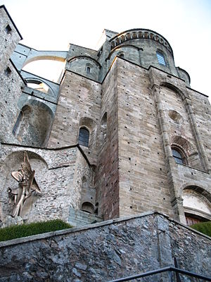 Sacra di San Michele - Façade of the Abbey.