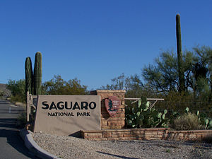 Photo of the entrance to Saguaro National Monu...