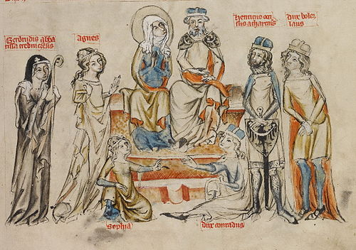 Henry I the Bearded with his family. In the center sit: Henry and his wife Hedwig, from left stand: Gertrude, Agnes, Henry II the Pious and Bolesław; at the bottom sit: Sophie and Konrad the Curly.
