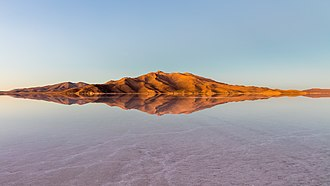 Salar de Uyuni - Mountains surrounding the Uyuni salt flat during sunrise, Daniel Campos Province, Potosí Department, southwestern Bolivia, not far from the crest of the Andes.