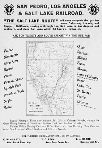 Los Angeles and Salt Lake Railroad - Newspaper ad with a map of the system, 1904.