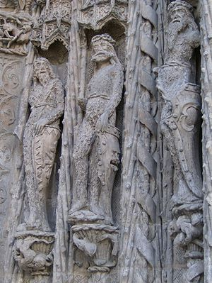 "Valladolid debate - ""Wild Men"" depicted on the facade of the Colegio de San Gregorio"