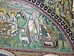San vitale, ravenna, int., presbiterio, mosaici di sx 02 ospitalità di abramo e sacrificio di isacco 04.JPG