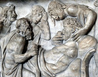 Veneration of the dead - Detail from an early 2nd-century Roman sarcophagus depicting the death of Meleager