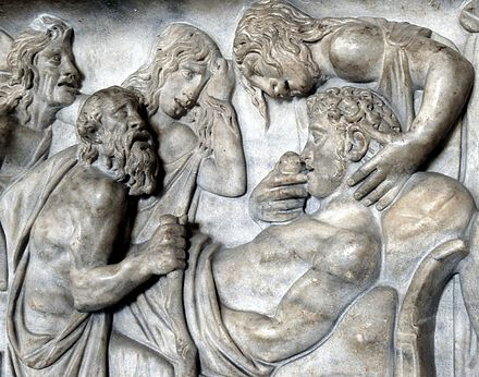 Detail from an early 2nd-century Roman sarcophagus depicting the death of Meleager Sarcophagus death of Meleager Louvre Ma539.jpg