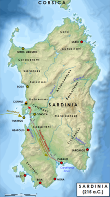 Cartina Sardegna Tharros.Hampsicora Wikipedia