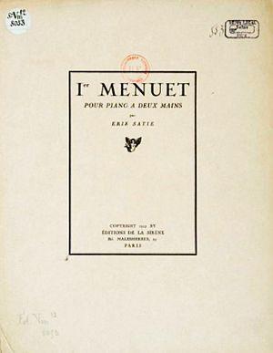 Premier Menuet - Cover of the original edition (1921) of Satie's Premier Menuet