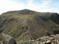 The summit of Scafell Pike, seen from neighbouring Broad Crag