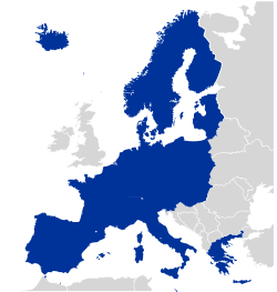 The Schengen Area as of 2009