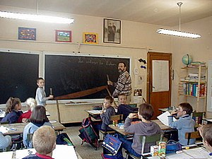 Teaching Walloon at Ochamps (the benevolent te...