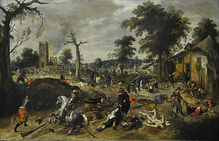 The aftermath of the plundering of the village of Wommelgem in 1589 Sebastiaan Vrancx (1573-1647) - De plundering van Wommelgem (1625-1630) - Dusseldorf Museum Kunstpalast 15-08-2012 15-08-12.JPG