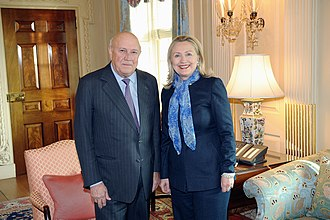 F. W. de Klerk - De Klerk with US foreign minister Hillary Clinton in 2012.