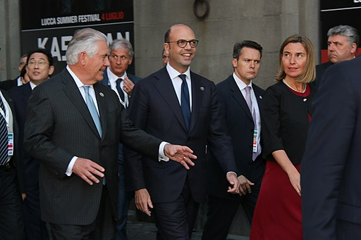 Secretary Tillerson Chats With Italian Foreign Minister Alfano and EU High Representative Mogherini on a Walking Tour of Lucca (33919510606)