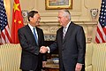 Secretary Tillerson Shakes Hands With Chinese State Councilor Yang in Washington (33013581412).jpg