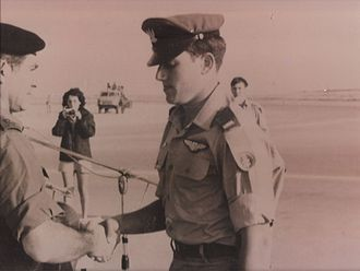 Shimshon Rozen - Rozen with IDF Chief of Staff David Elazar during pilot course graduation