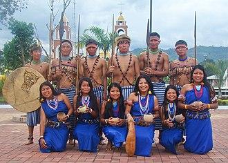 Logroño, Ecuador - Shuar Dance Group en the park of Logroño