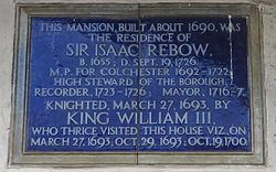 Photo of William III of England and Isaac Rebow blue plaque