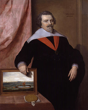 New River (England) - Sir John Backhouse, a founding member of the New River Company. The Company's first reservoir is seen in the picture