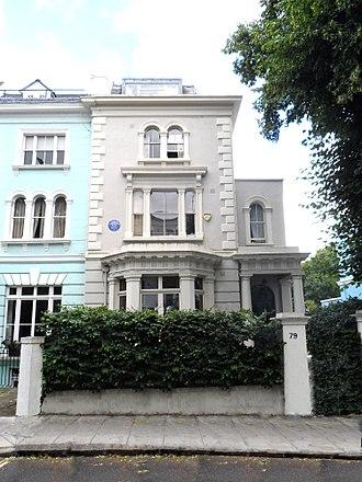 Osbert Lancaster - Lancaster's birthplace, Elgin Crescent, with blue plaque commemorating him