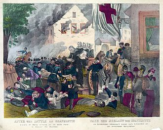 """History of nursing - """"After the Battle of Gravelotte. The French Sisters of Mercy of St. Borromeo arriving on the battle field to succor the wounded."""" Unsigned lithograph, 1870 or 1871."""