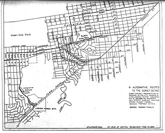Sunset Tunnel - October 1921 study by City Engineer's office showing six proposed routes for a Sunset District Extension, including the selected Duboce alignment. Also note surface alignment along Grove, which included a short tunnel under Alamo Square.