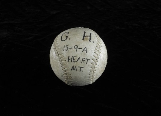 Smithsonian photo of softball from Heart Mountain Relocation Center