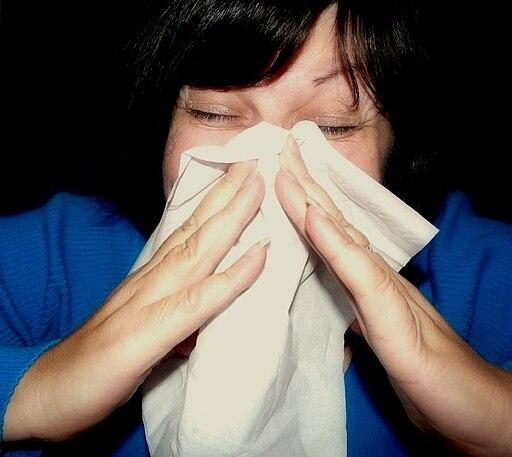 Sneeze in white hankie