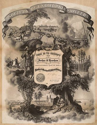 Society of California Pioneers - Society of California Pioneers membership certificate issued to Joshua S. Henshaw, December 15, 1866