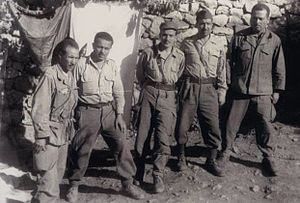 Larbi Ben M'hidi - Youcef Zighout, Abane Ramdane, Ben M'hidi, Krim Belkacem and Amar Ouamrane. Photograph taken in August/September 1956.