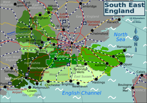 Map Of South East France.South East England Travel Guide At Wikivoyage