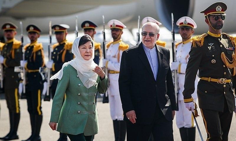 South Korean President Park Geun-hye arrived in Iran, Mehrabad Airport, Tehran 07