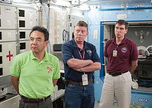 Soyuz TMA-02M - Image: Soyuz TMA 02M Crew during a training at Johnson Space Center
